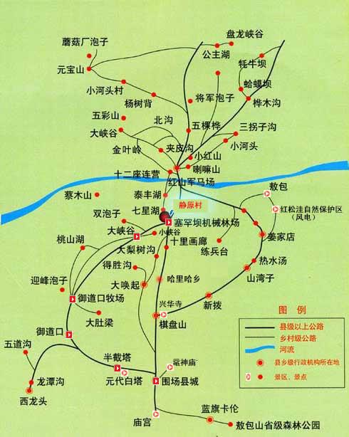红山军马场景区分布图