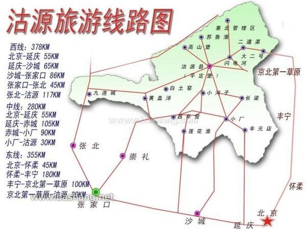 沽源旅游景区线路图